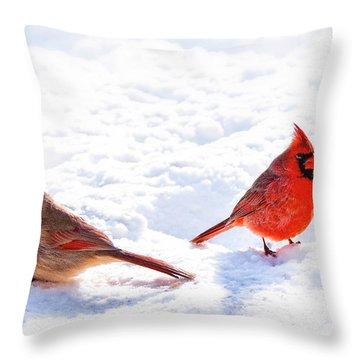Cardinal Couple Throw Pillow by Tamyra Ayles