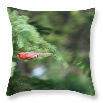 Throw Pillow featuring the photograph Cardinal In Flight by Thomas Woolworth