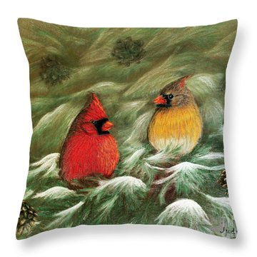 Cardinals In Winter Male And Female Cardinals Throw Pillow