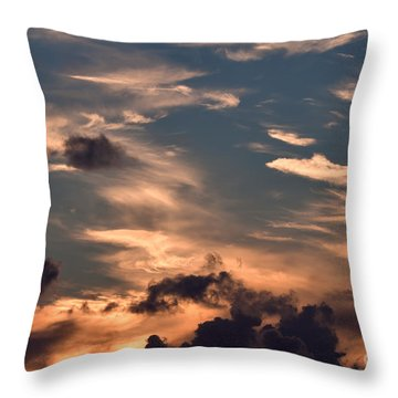 Caribbean Sunset Near Norman Island Throw Pillow by Louise Heusinkveld
