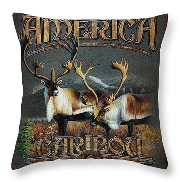 Caribou Throw Pillow by JQ Licensing