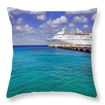 Carnival Elation Docked At Cozumel Throw Pillow by Jason Politte