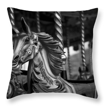 Throw Pillow featuring the photograph Carousel Horses Mono by Steve Purnell