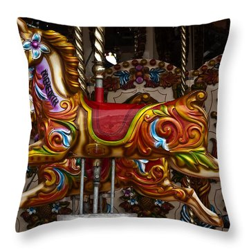 Throw Pillow featuring the photograph Carousel Horses by Steve Purnell
