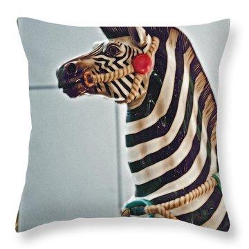 Carousel Zebra Throw Pillow by Bill Owen