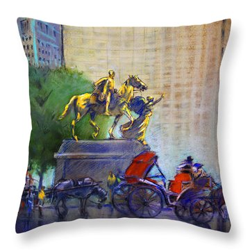 Carriage Rides In Nyc Throw Pillow