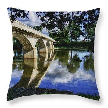 Carrollton Bridge Over The Wabash Throw Pillow by Jim Finch