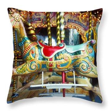 Carrouse Horse Paris France Throw Pillow by Garry Gay