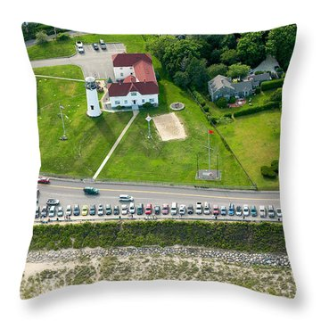 Cars Line Up At The Parking Lot At Chatham Lighthouse And Chatha Throw Pillow by Matt Suess