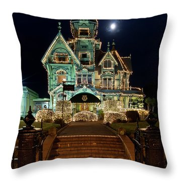 Carson Mansion At Christmas With Moon Throw Pillow by Greg Nyquist