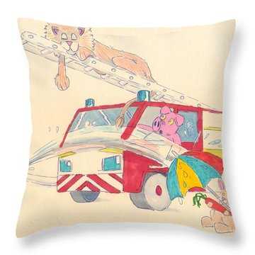 Cartoon Fire Engine And Animals Throw Pillow