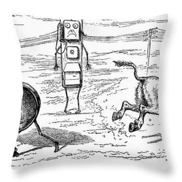 Cartoon: Telephone, 1886 Throw Pillow by Granger