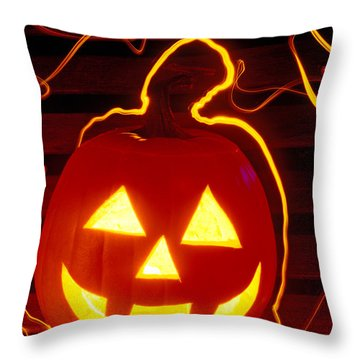 Carved Pumpkin Smiling Throw Pillow by Garry Gay