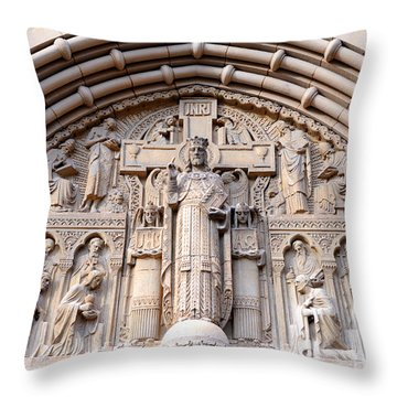 Carved Stone Biblical Mural Above Catholic Cathedral Doorway  Throw Pillow by Gary Whitton