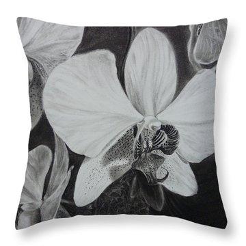 Cascade Of Orchidds Throw Pillow by Estephy Sabin Figueroa
