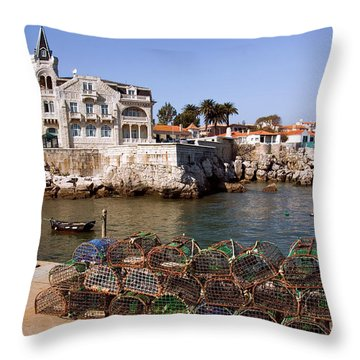 Cascais Bay Throw Pillow by Carlos Caetano