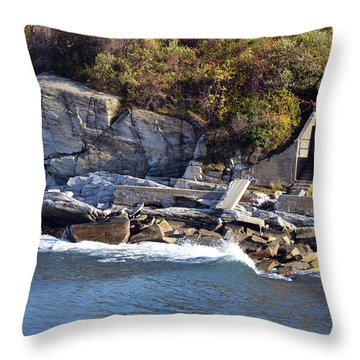 Throw Pillow featuring the photograph Casco Bay Fort Area Scene by Maureen E Ritter