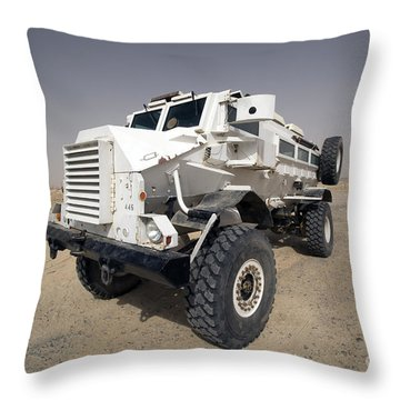 Casper Armored Vehicle Sits Throw Pillow by Terry Moore