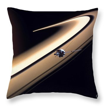 Cassini Spacecraft Throw Pillow by Gil Babin and Photo Researchers