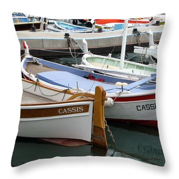 Cassis Harbor Throw Pillow by Carla Parris