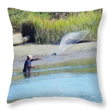 Throw Pillow featuring the photograph Casting For Shrimp At Hunting Island by Patricia Greer