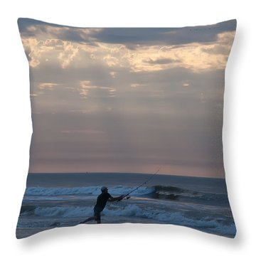 Casting Into The Surf Throw Pillow by Bill Cannon
