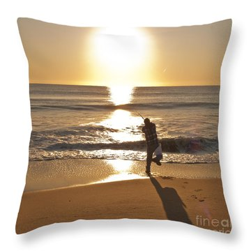 Casting To The Sun Throw Pillow