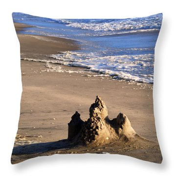 Castle By The Sea Throw Pillow by Linda Mesibov