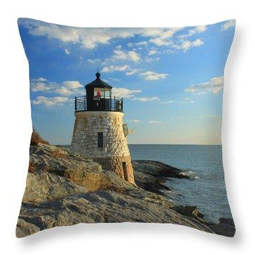 Castle Hill Lighthouse Newport Rhode Island Throw Pillow by John Burk