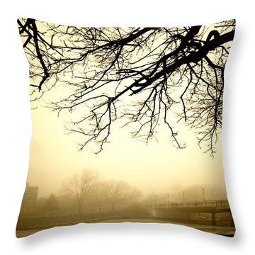 Castle In The Fog Throw Pillow
