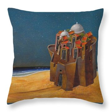 Castle With Two White Domes Throw Pillow by Dimitris Milionis