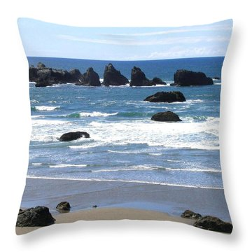 Throw Pillow featuring the photograph Cat And Kittens Rocks by Will Borden