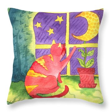 Cat And Moon Throw Pillow by Kristen Fox