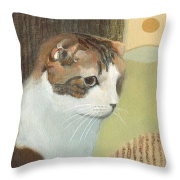 Cat And Sunset Throw Pillow