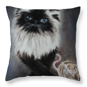 Cat N Mouse Say Cheeeeeeese Throw Pillow by Carla Carson