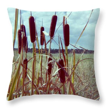 Throw Pillow featuring the photograph Cat Tails by Bonfire Photography