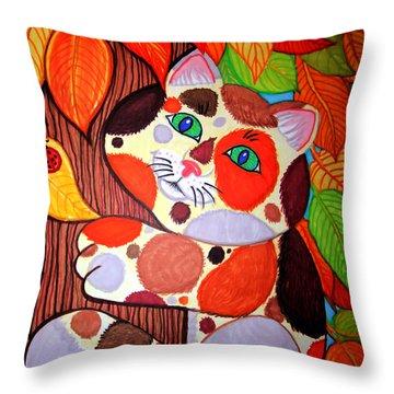 Cat Up A Tree Throw Pillow