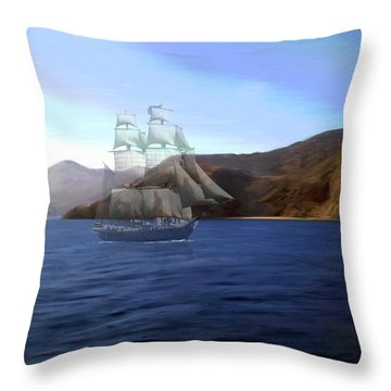 Catalina Shoreline Ghost Ship Throw Pillow by Snake Jagger