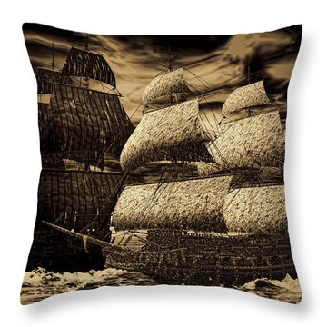 Catastrophic Collision-sepia Throw Pillow by Lourry Legarde