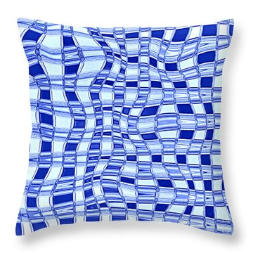 Catch A Wave - Blue Abstract Throw Pillow by Carol Groenen