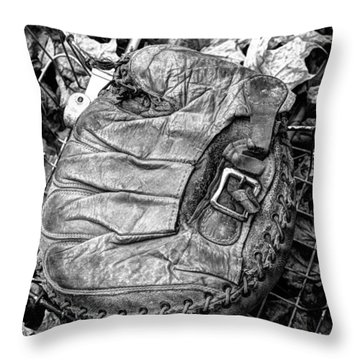 Throw Pillow featuring the photograph Catcher's Mitt And Bike Basket by Janice Adomeit