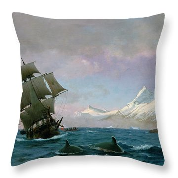 Catching Whales Throw Pillow by J E Carl Rasmussen