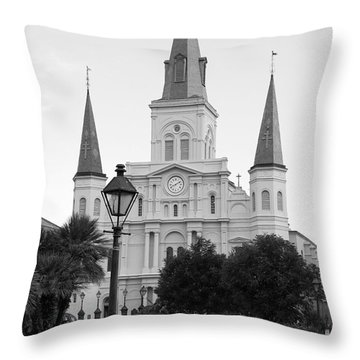 Cathedral And Lampost On Jackson Square In The French Quarter New Orleans Black And White Throw Pillow by Shawn O'Brien