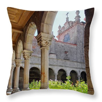 Cathedral Cloister Throw Pillow by Carlos Caetano