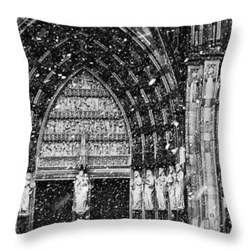 Throw Pillow featuring the photograph Cathedral In The Snow Panorama by Andy Prendy