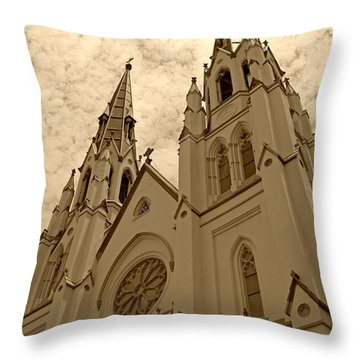 Cathedral Of St John The Baptist In Sepia Throw Pillow by Suzanne Gaff