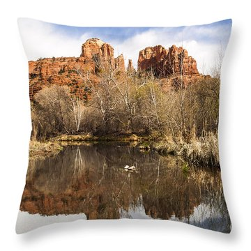 Cathedral Rock Reflections Landscape Throw Pillow by Darcy Michaelchuk