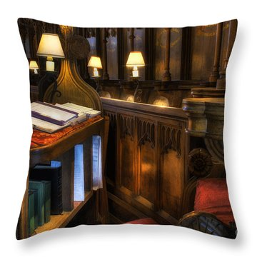 Cathedral's Chief Stall Throw Pillow by Ian Mitchell
