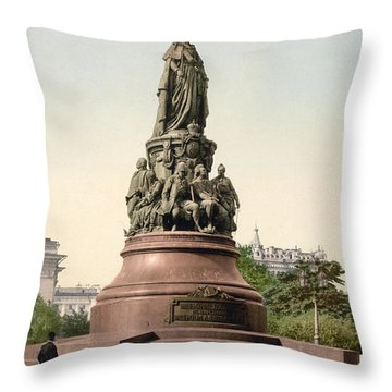 Catherine II Monument In St. Petersburg Russia Throw Pillow by International  Images