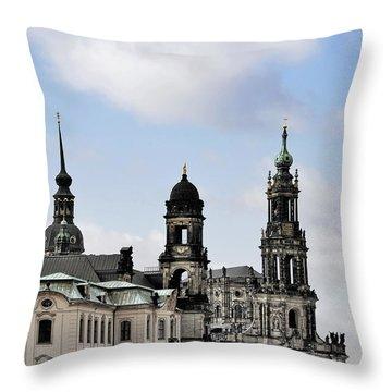 Catholic Church Of The Royal Court - Hofkirche Dresden Throw Pillow by Christine Till